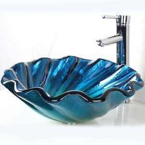 Modern Ocean Round Tempered Glass Sink (Faucet Not Included)