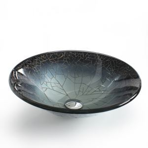 Modern Fashion Dark Grey Round Tempered Glass Sink (Faucet Not Included)