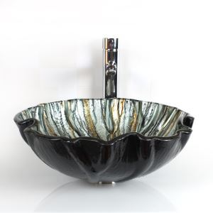 Seashell Shape Tempered Glass Vessel Sink (Faucet Not Included)