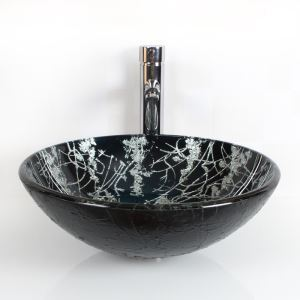 Modern Fashion Hand-painting Round Tempered Glass Sink (Faucet Not Included)