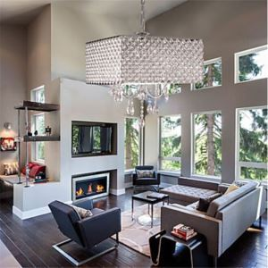 (In Stock) Modern Royal Crystal Square Chandelier Chrome with 4 Lights