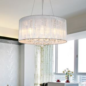 (In Stock) Drum Pendant Modern 4 Lights Minimalist Pendant Crystal Ceiling Lights(Mood Of Rain)