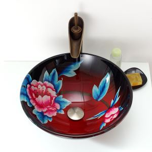 ModernNatural Style Hand-painting Wintersweet Round Tempered Glass Sink (Faucet Not Included)