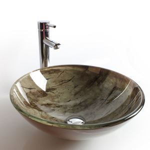 Modern Fashion Forest Round Tempered Glass Sink (Faucet Not Included)
