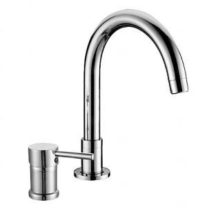 Contemporary Chrome Finish Single Handle Widespread Bathroom Sink Faucet