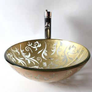 Modern Fashion Engraving Fashion Round Tempered Glass Sink A (Faucet Not Included)