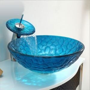 (In Stock)Mediterranean Blue Round Tempered Glass Sink and Waterfall Faucet Set