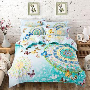 2016 Morocco Style/Boho Bedding set Queen Size Sheet+Comforter case+Pillowcase 4pcs Cotton Bed Linen sets,fast shipping