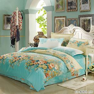 Lake Blue Color Duvet Cover Fashion Comfortable Flower Printed Full/Queen/King Size