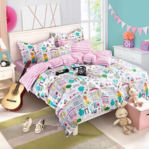 City print Bedding set Queen Size Bedsheet+Comforter cover+Pillowcase 4pcs Cotton bedclothes