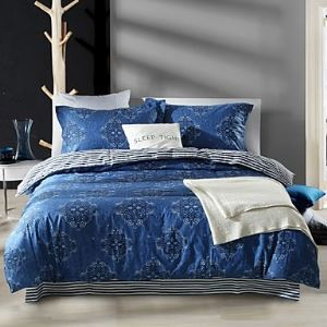 Simple Opulence 100% Cotton Reactive Printed Queen Duvet Cover Set with 1 Flat Sheet and 2 Pillowcases