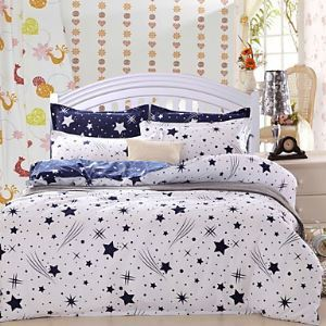 Meteor Bedsheet Pillowcases Duvet Cover(White)