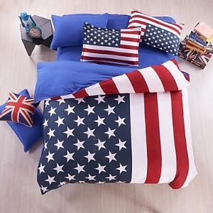 Baolisi America Flag Duvet Cover Set Bedding Set of 4pcs/ QueenSize