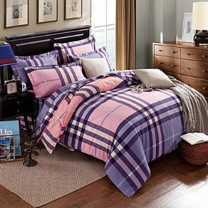 Hot Sale Bedding Set Plaids Reactive Printing Bedclothes 100% Cotton Fabric jogo de cama Bed Covers Home 4Pcs Queen Size