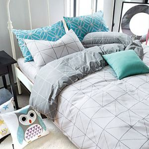 Reactive Printing 4pcs Bedding Fresh Set Bedsheet Duvet Cover Pillowcase Home Textile Bed Clothes