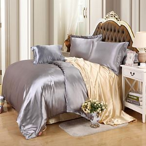 Solid Faux Silk 4 Piece Duvet Cover Sets