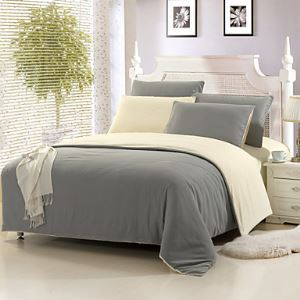 Light Gray Color Cotton Duvet Cover Sets 4 Piece Suit Comfort Simple Modern for Twin Full and Queen Bed Size