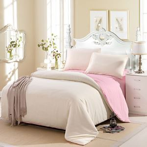 Cream Color Cotton Duvet Cover Sets 4 Piece Suit Comfort Simple Modern for Twin Full and Queen Bed Size
