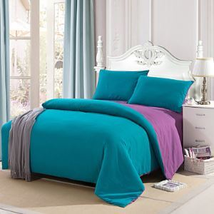 Light Blue Color Cotton Duvet Cover Sets 4 Piece Suit Comfort Simple Modern for Twin Full and Queen Bed Size