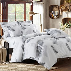 Solid Cotton 4 Piece Duvet Cover Sets