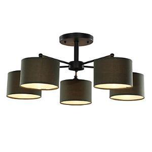 5 Light 30 inch Ceiling Light Fixture, Black And White