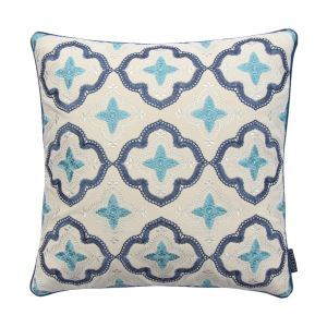 ATD CASA European Country Style Blue Embroidery Throw Pillow Cushion Cover