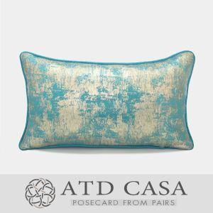ATD CASA Modern Nordic Light Blue Silver Throw Pillow Polyester Fiber Lumbar Pillow Cushion Cover
