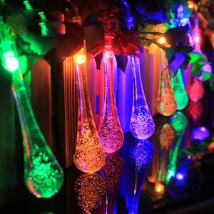 4.8M 20 LED Raindrop Solar Powered Outdoor String Lights for Outside Garden Patio Party Christmas (Multi Color) Energy Saving