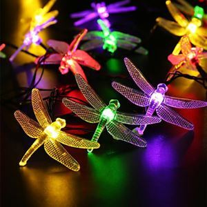 Outdoor Solar Led String Light 5M 20 Led Dragonfly Solar Panel Strip Light Waterproof Garden Square Decoration Energy Saving