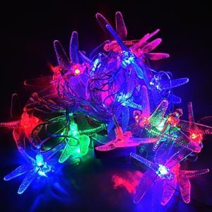 4M 20LEDs RGB LED Dragonfly String Lights Christmas String Light For Decoration (AC 110-220V)