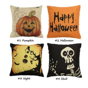 43x43cm 4 Pattern Halloween Fashion Cotton Linen Pillow Case Home Sofa Cushion Decor