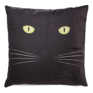 45x45cm Flax Cotton Dark Night Cat Pillow Case Throw Cushion Cover Home Decor