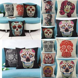 Creative Skull Pillow Cover Linen Cotton Vintage Decor Cushion Cover
