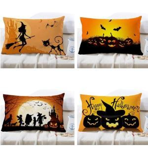 30x50cm 4 Pattern Halloween Fashion Cotton Linen Pillow Case Home Sofa Cushion Decor