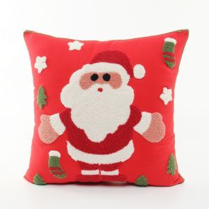 Christmas Santa Claus Canvas Embroidery  Safa Cushion Cover Christmas Stock Pillow Cover Chrismtmas Gifts Christmas Decoration