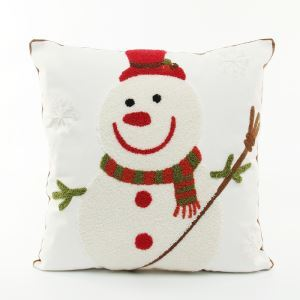 Christmas Canvas Embroidery Snowman Sofa Cushion Cover Pillow Cover Chrismtmas Gifts Christmas Decoration