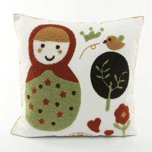 Christmas Matryoshka Doll Canvas Embroidery Snowman Sofa Cushion Cover Pillow Cover Chrismtmas Gifts Christmas Decoration