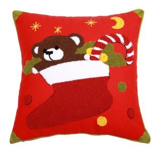 Christmas Canvas Embroidery Christmas Stocking Sofa Cushion Cover Pillow Cover Chrismtmas Gifts Christmas Decoration
