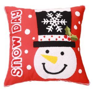Christmas Canvas Embroidery Snowman Sofa Cushion Cover Pillow Cover Chrismtmas Gifts Christmas Decoration A