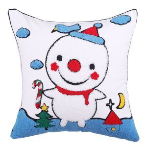 Christmas Canvas Embroidery Snowman Sofa Cushion Cover Pillow Cover Chrismtmas Gifts Christmas Decoration B