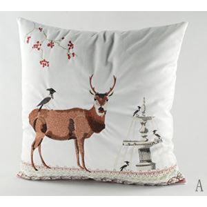 Christmas Deer Charpie Embroidery Cushion Cover Pillow Cover Chrismtmas Gifts Christmas Decoration A
