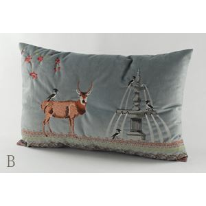Christmas Deer Charpie Embroidery Cushion Cover Pillow Cover Chrismtmas Gifts Christmas Decoration B