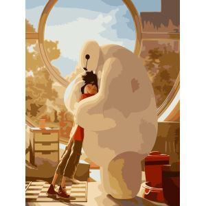 Modern Simple DIY Hand Panting DIY Oil Painting Cartoon Baymax Wall Art 40*50