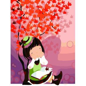 Modern Simple DIY Hand Panting DIY Oil Painting Girl in the Autumn Wall Art 30*40