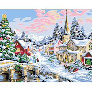 Christmas Modern Simple DIY Hand Panting DIY Oil Painting Christmas Snow Wall Art 40*50 Christmas Gift Christmas Decortaion