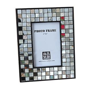 "6"" Mosaic Design Picture Frame set in Glass"