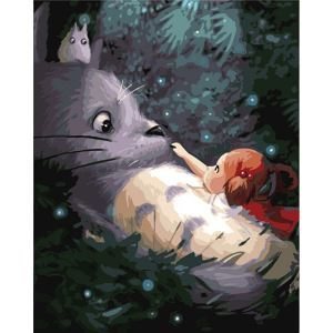 Modern Simple DIY Hand Panting DIY Oil Painting Totoro Wall Art 40*50