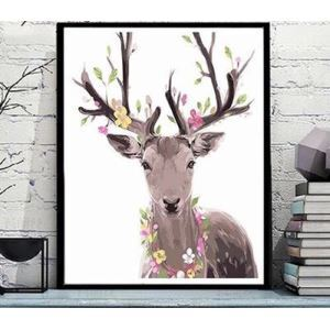 Modern Simple DIY Hand Panting DIY Oil Painting Cartoon Deer Wall Art 40*50