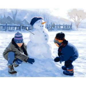 Christmas Modern Simple DIY Hand Panting DIY Oil Painting Christmas Snow Wall Art 40*50 B Christmas Gift Christmas Decortaion