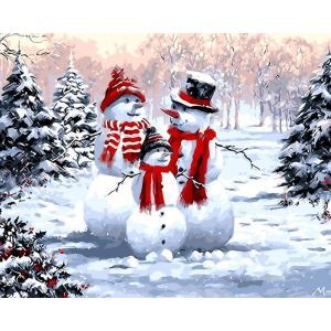 Christmas Modern Simple DIY Hand Panting DIY Oil Painting Christmas Snow Wall Art 40*50 D Christmas Gift Christmas Decortaion